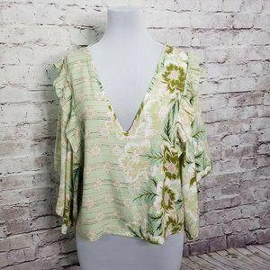 JAASE Size L Green Floral Print Hippie Boho Ruffle